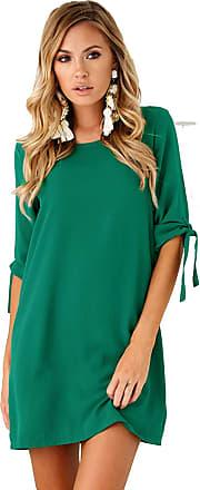Yidarton Womens V Neck Summer Dress Button Tunic Dress Ruffled Wing Loose Shirt Dresses Short Dresses Beach Dress (D-Green, M)