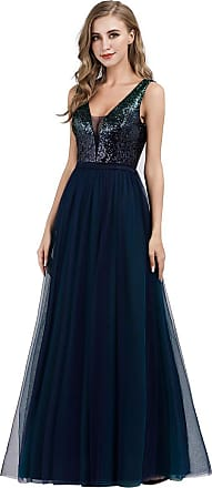 Ever-pretty Womens Elegant Sequins V Neck Floor Length A Line Empire Waist Long Tulle Ball Evening Dresses Gowns Navy Blue 16UK