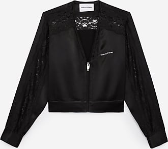 The Kooples Zipped black satin jacket with lace detail - WOMEN