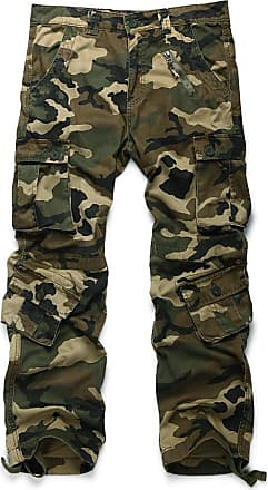 OCHENTA Mens Cotton Casual Military Army Camo Combat Trousers,Wild Cargo Pants with 8 Pockets 3357 Camo M 30