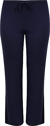 Yours Clothing Women/'s Plus Size Navy Bengaline Cropped Pull On Trousers