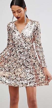 002dff56b67d Club L Club L Rose Gold Mini Disc Sequins Wrap Over Skater Dress - Gold