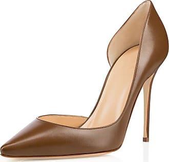 EDEFS Womens Pointy Toe High Heels Handmade Stilettos Thin Heels Court Shoes Brown EU38