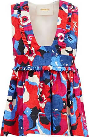 La DoubleJ Casati Fluted Floral-print Shot-cotton Top - Womens - Red Multi