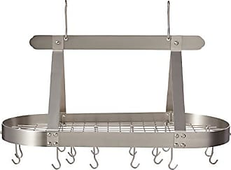 Old Dutch International Oval Steel Pot Rack w. Grid &16 Hooks, Satin Nickel, 36 x 19 x 15.5
