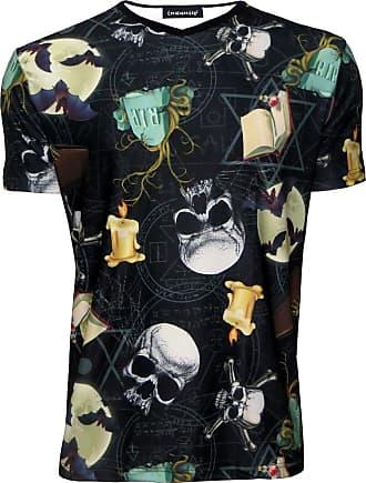 Insanity Gothic Bats On The Moon, Skulls, Pentagram Printed V-Neck Tshirt Tee Top (M) Black