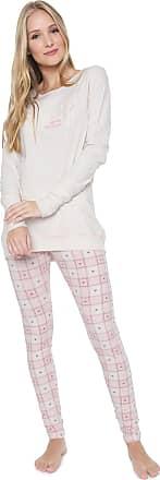 Cor com Amor Pijama Cor com Amor Estampado Off-white/Rosa