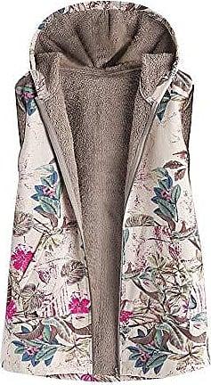 VEMOW Hei/ßer Elegante Damen Frauen Warme Outwear Vintage Geometric Print Mit Kapuze Taschen Oversize Weste Mantel Jacke Winter Herbst