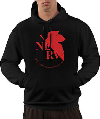 Not Applicable Clothing Mens Long Sleeve Hoodies Grunged NERV Pullover Hooded Sweatshirt with Pockets Black