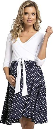 Happy Mama Womens Maternity Skater Dress 3/4 Sleeves 525p (Navy with Hearts, UK 14/16, XL)