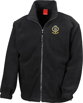 Military Online The Queens Regiment Embroidered Logo - Official British Army Full Zip Heavyweight Fleece Jacket Black