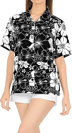 La Leela Womens Hawaiian Blouse Top Collar Short Sleeve Button Down V Neck Casual Work Yoga Shirt Summer Holiday M-UK Size:18-20 Halloween Black_X2