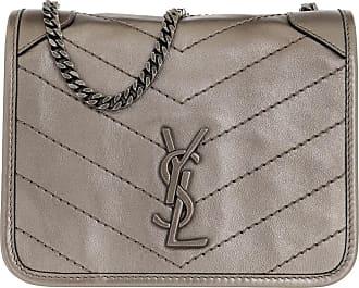 Saint Laurent Cross Body Bags - Niki Wallet On Chain Leather Silver - silver - Cross Body Bags for ladies