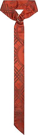 Burberry D-ring Detail Chain Silk Jacquard Skinny Scarf - Vermelho