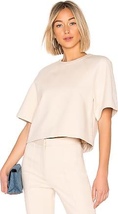 Tibi Raglan Short Sleeve Top in Beige