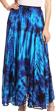 Sakkas 18222 - Ester Womens Simple Boho Maxi Full Circle Tie-dye Skirt with Elastic Waist - Blue/Turq - OS