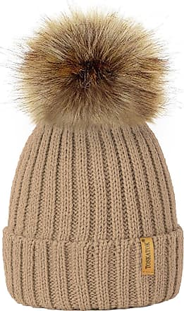 TOSKATOK Womens Winter Rib Knitted Hat/Beanie with Detachable Chunky Faux Fur Bobble Pom Pom - Available in 10 Colours