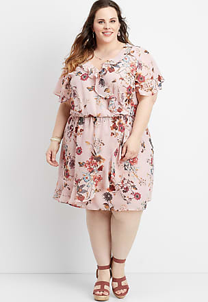 Maurices Plus Size - Ruffled Floral V-Neck Wrap Dress