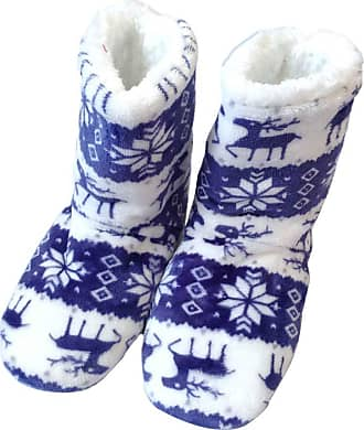 Not Applicable Clothing Christmas Coral Fleece Elk Slippers Boots Christmas Shoes Men Women Home Indoor Shoes Warm Coral Fleece Soft Christmas Boots Slippers Blue