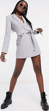 4th & Reckless buckle detail blazer dress with belt in grey