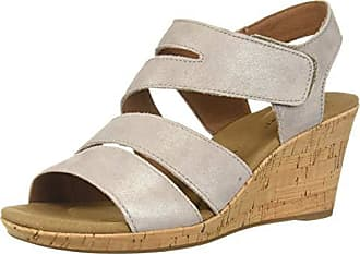 Rockport Womens Briah Asym Wedge Sandal, Khaki Metal, 7.5 M US