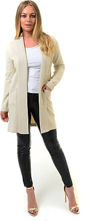 Generic Ladies Open Front Knitted Long Sleeve Smart Cardigan Jacket (XL (16-18), Cream Marl)