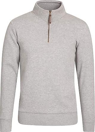 Mountain Warehouse Mens Zip Neck Top - 100% Cotton Spring Pullover, Lightweight Sweatshirt, Half Zip, Fleece Lined, Warm & Cosy - Ideal for Walking, Travelling, Hiking G