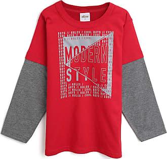 Elian Camiseta Elian Infantil Lettering Vermelho/Cinza
