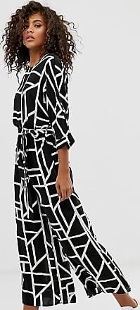 Asos Tall ASOS DESIGN Tall Tie Waist Jumpsuit in mono geo print-Multi