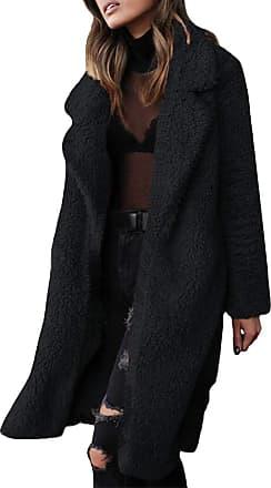 TOMWELL Womens Jacket Coat Long Sleeve Faux Fur Fluffy Fleece Notch Collar Warm-up Outerwear Cardigan Black UK 10