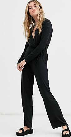 Noisy May Festive long sleeve wrap jumpsuit-Black