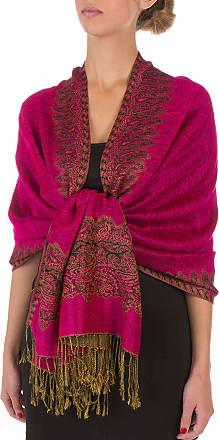 Sakkas 70 x 28 Border Pattern Double Layer Woven Pashmina Feel Shawl/Wrap/Stole - Fuscia