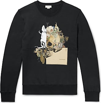 Alexander McQueen Printed Loopback Cotton-jersey Sweatshirt - Midnight blue