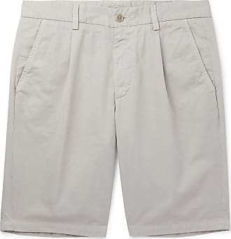 Aspesi Slim-fit Pleated Cotton-twill Shorts - Gray