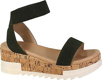 Yoki Womens BRENDA-10 Flat Sandal, Olive, 5.5 UK