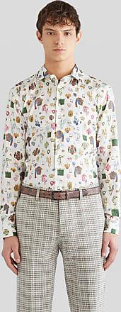 Etro Cotton Shirt With Equestrian Print, Man, White, Size 38
