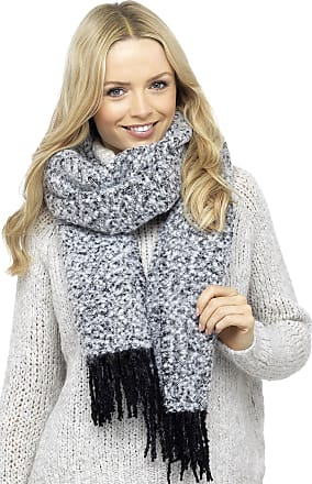 Foxbury Ladies Boucle Knit Scarf with Tassel Ends Black