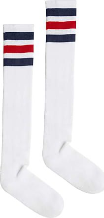 American Apparel Womens Stripe Knee-High Sock, White/Navy/Red, One Size