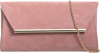 LeahWard Womens Suede Flap Clutch Bag Wedding Night Out Handbag Evening Purse 717 (Blush 315)
