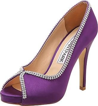 Elegantpark EP11083-IP Women High Heels Rhinestones Peep Toe Pumps Satin Bridal Party Court Shoes Purple UK 5