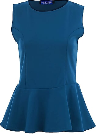 Royal Blue UK 26-28 US 22-24 WearAll Plus Size Womens Lace Sequin Peplum Top