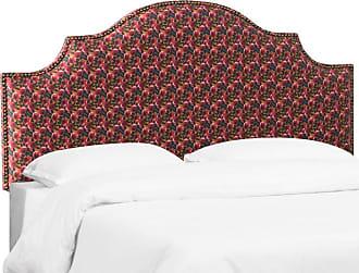 Skyline Furniture Nail Button Notched Headboard - Bloomsbury Rose Ochre Raspberry, Size: Queen - 832NB-BRBLRSOCRSSMA