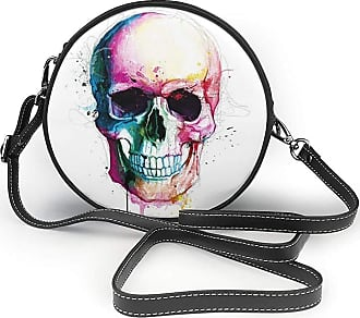 Turfed Colorful Halloween Skull Print Round Crossbody Bags Women Shoulder Bag Adjustable PU Leather Chain Strap and Top Zipper Small Handbag Handle Tote