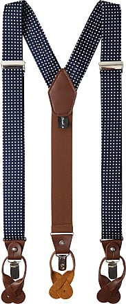 Jacob Alexander Mens Polka Dot Y-Back Suspenders Braces Convertible Leather Ends and Clips - Navy
