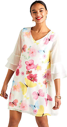 Yumi Butterfly Print Sheer Sleeves Tunic Dress Ivory