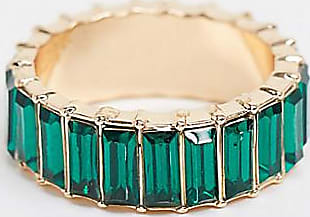 Asos Curve ASOS DESIGN Curve ring with green baguette crystal stones in gold tone