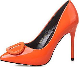 8248f34705276b AalarDom Damen Spitz Zehe Stiletto Lackleder Rein Pumps Schuhe