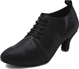 MGM-Joymod Womens Closed Toe Lace-up Glitter Synthetic Leather Salsa Practice Latin Dance Prom Ballroom Shoes (Black) 5.5 M UK
