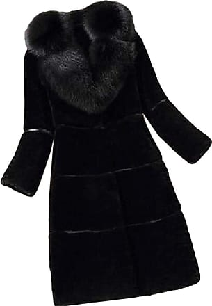 VITryst Womens Mid Length Jacket Lapel Long Sleeve Warm Faux Fur Coat Overcoats Outwear Tops,2,3X-Large