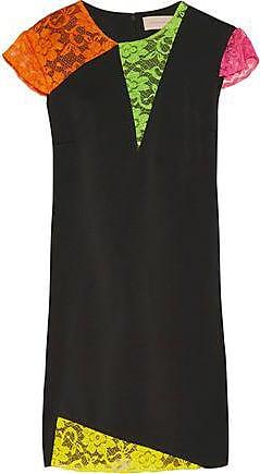556727ec3c94 Christopher Kane Christopher Kane Woman Neon Corded Lace-trimmed Crepe Mini  Dress Black Size 10